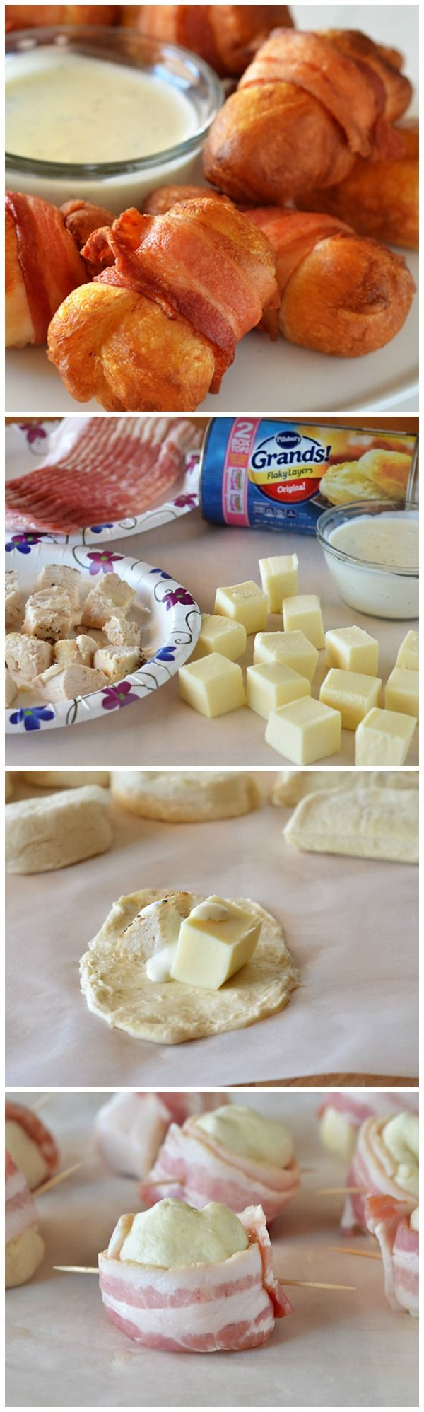 Ultimate appetizer: biscuits stuffed with chicken and ranch and then wrapped in bacon!