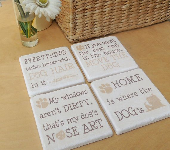 Set of Natural Stone Tile Coasters Printed by SallyGristArtwork