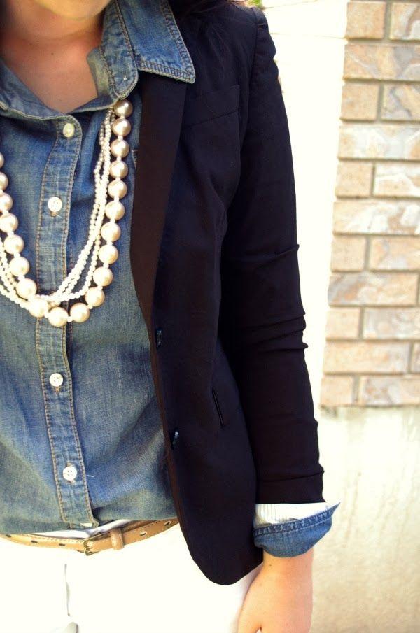 Chambray shirt, denim shirt, navy blazer, white jeans, and layered pearls.