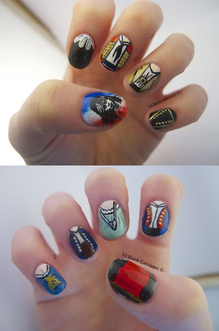 Les Mis Costume inspired Nail Art!  By Jenny Pasha.  http://www.10blankcanvases.com/2012/12/les-miserables-nails.html  #theatre #lesmis #musicals www.lesmis.com