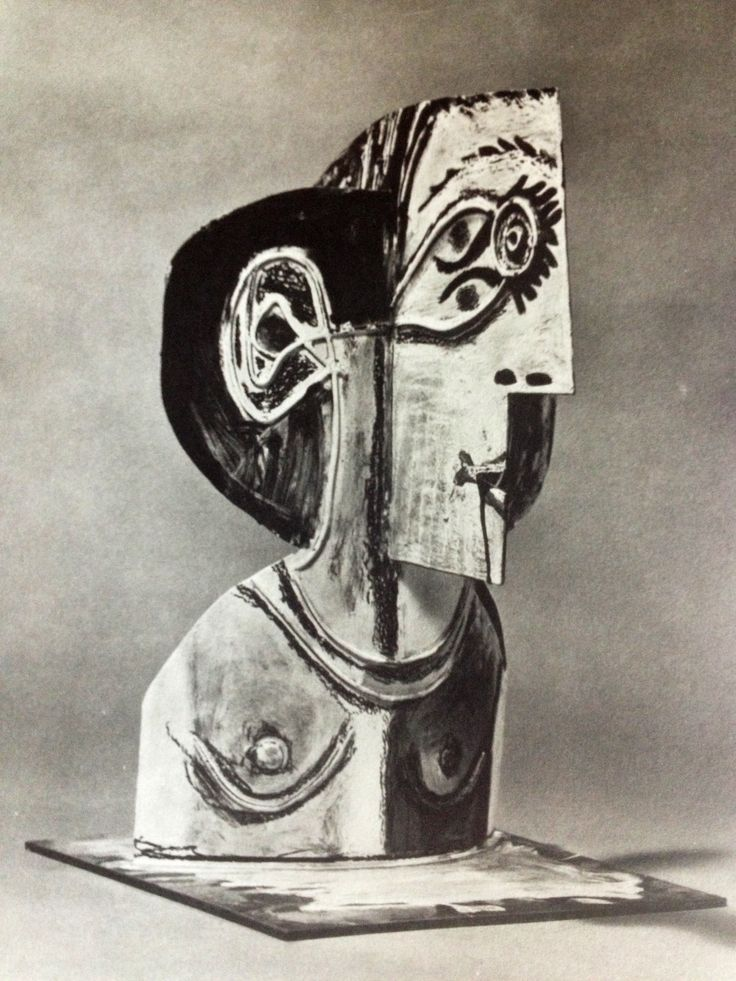 """Pablo Picasso. """"Bust of a Woman. 1962 Metal cutout, folded and painted, 173/4 inches high"""