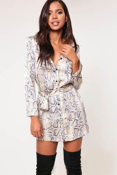 c6e2d118d624 Apricot snake print shirt dress in 2019 | 1970's Style | Dresses ...