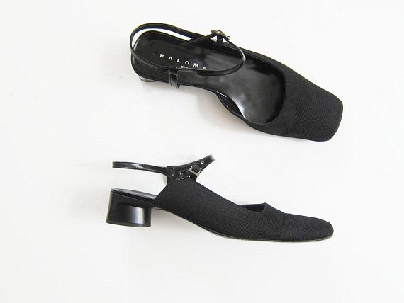 b4070d214d6a6 90s minimalist low heel shoes 8.5 - 90s black square toe flats ...