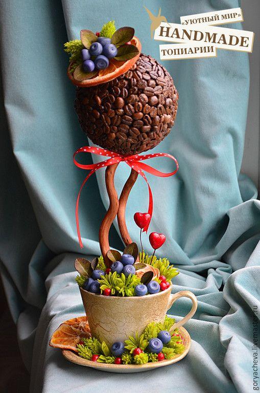 """Купить Топиарий """"Черничная свадьба"""" - разноцветный, топиарий, черника, черника из фарфора, Дерево счастья"""