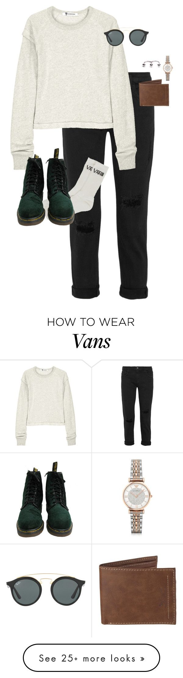 """""""Untitled #12941"""" by alexsrogers on Polyvore featuring Current/Elliott, Vans, T By Alexander Wang, Dr. Martens, Ray-Ban, Levi's and Emporio Armani"""