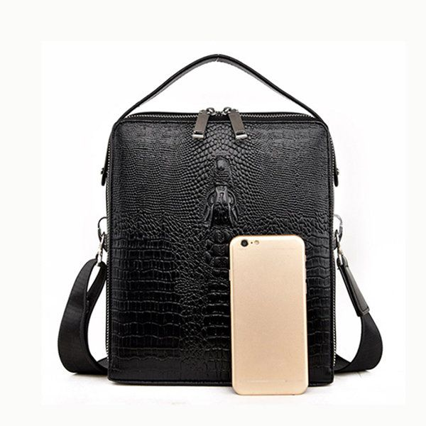 Genuine Leather Bag Large Capacity Crocodile Pattern Bag Business Briefcase iPad Bag For Men Shopping Online - NewChic
