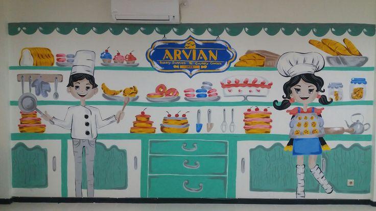 Mural wallpainting baker bakery cook kitchen