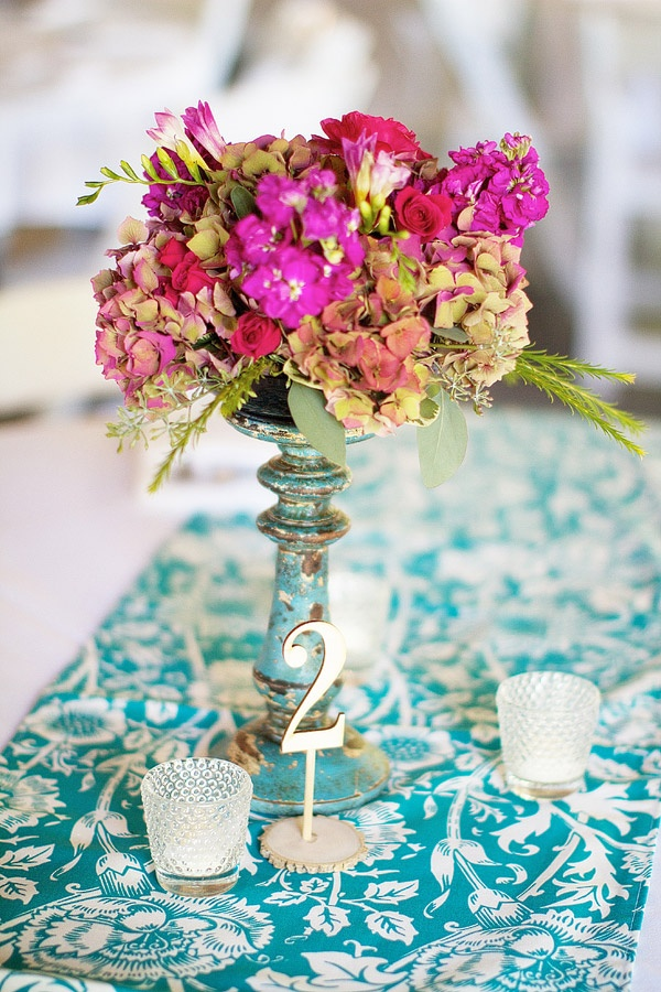 Fuchsia Hot Pink Wedding Fl Centerpiece Teal And