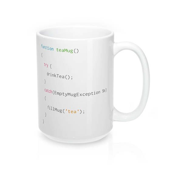 The perfect mug for PHP coders that just cant get enough tea. #CodeBean #python #gifts #coding #starbucks #coffeetime #giftideas #giftsforher #giftsforhim #programminghumor Following this simple script will remind coders to fill up an empty mug with more delicious tea!  The perfect mug to get a much that needed tea from while web-designing!   - Durable white ceramic mug  - Rounded edge, safe to drink