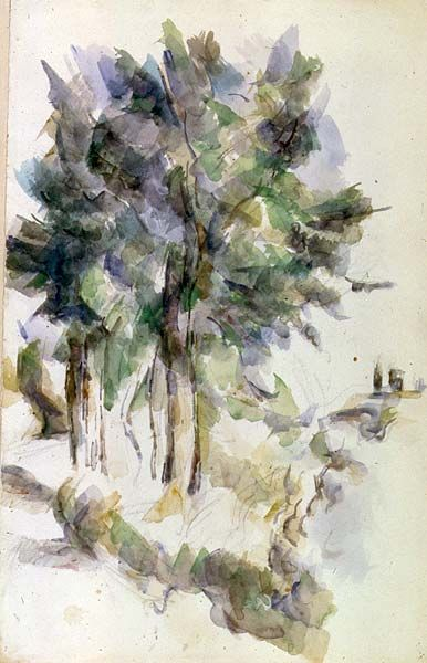 Paul Cézanne / Trees / Watercolor over pencil / The Morgan Library and Museum