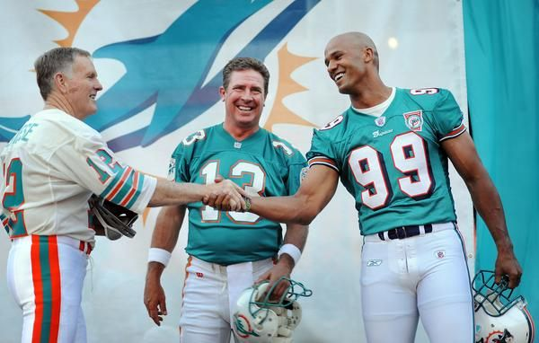 Miami Dolphins legends Bob Griese, Dan Marino, and Jason Taylor