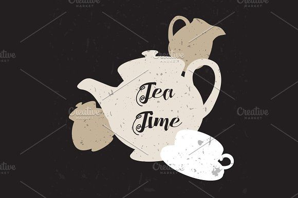 English Tea Time In Teapot by barsrsind on @creativemarket