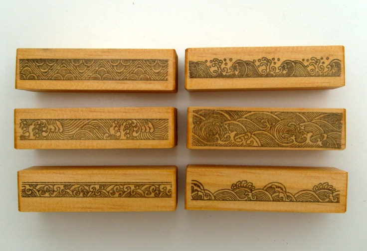 Waves Engraving Borders Rubber Stamps Pack 24 90 Via