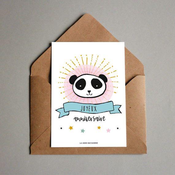 Carte Joyeux Anniversaire - panda