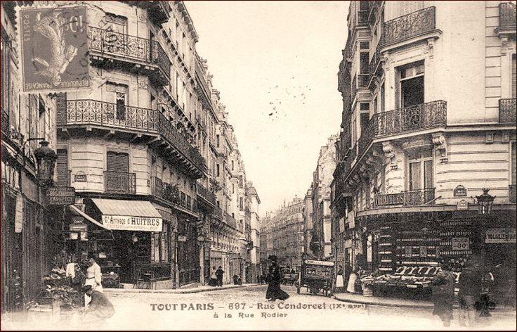 La rue Condorcet au niveau de la rue Rodier, vers 1905 (Paris 9ème)