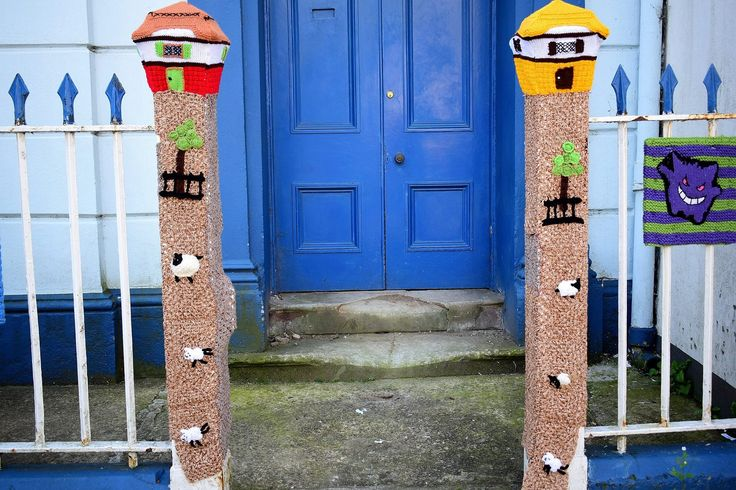 Pembrokeshire cottages yarn bomb style