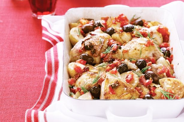 Low FODMAP - Mediterranean Chicken Bake - Need a simple recipe for dinner tonight? This aromatic chicken bake will impress your guests, and best of all, it's all done in one dish! See notes section for Low FODMAP diet tip.