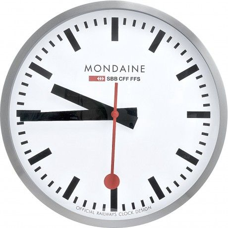 Mondaine Classic Swiss Railway Clock Chrome