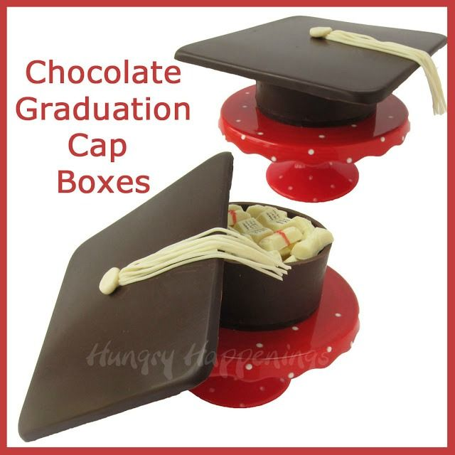 Chocolate graduation cap boxes filled with candy and cash. from HungryHappenings.com