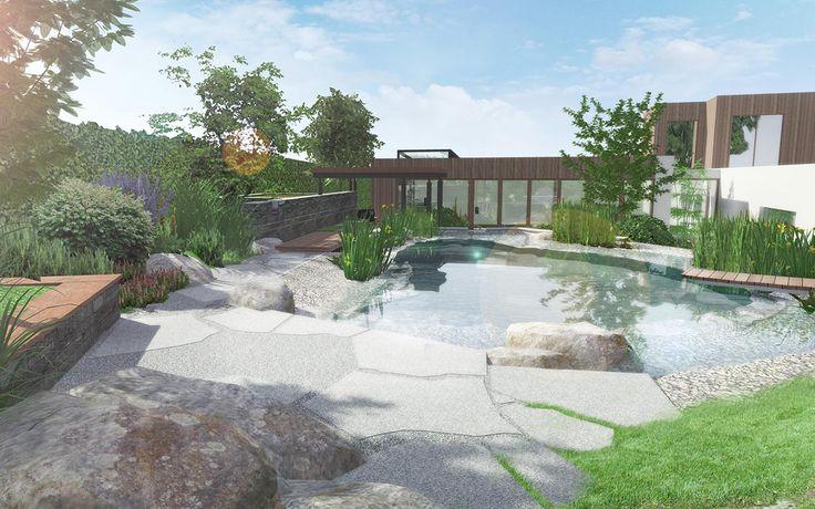 vizualizace zahrady s koupacím jezírkem / visualization of garden with a natural swimming pond
