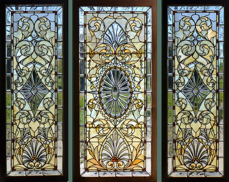A set of 3 Antique American Stained/Jeweled and Beveled Glass Windows.  Originally installed in the Indiana Governors Mansion