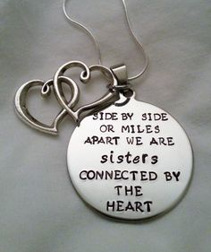 cute sisters quote -- side by side or miles apart we are sisters connected by the heart  perfect gift exchange idea for Christmas!  #templestamping
