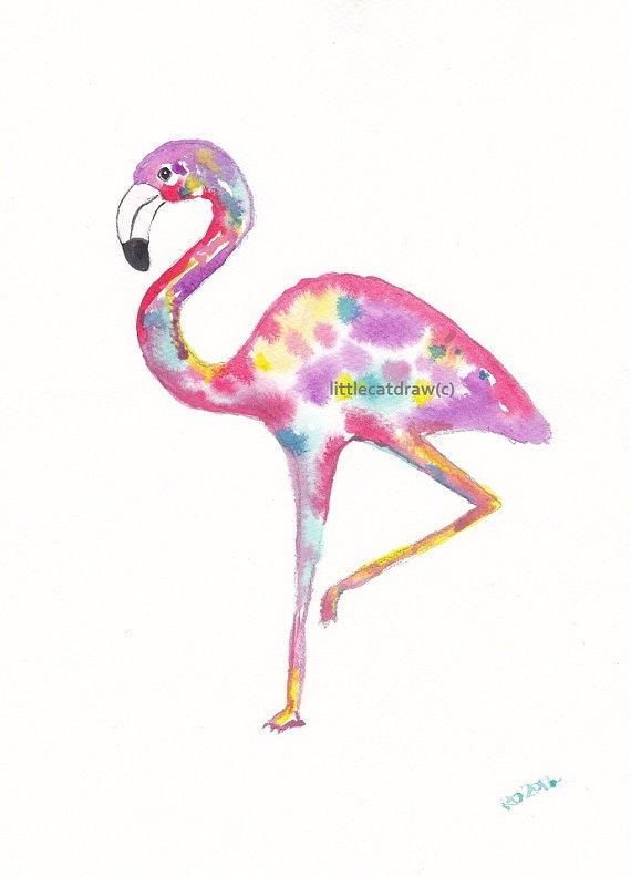Rainbow Flamingo Watercolor Art Print | Art | Pinterest