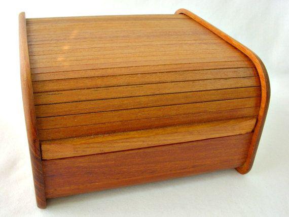 Mid Century Teak Wood Roll Top Desk Organizer Tambour