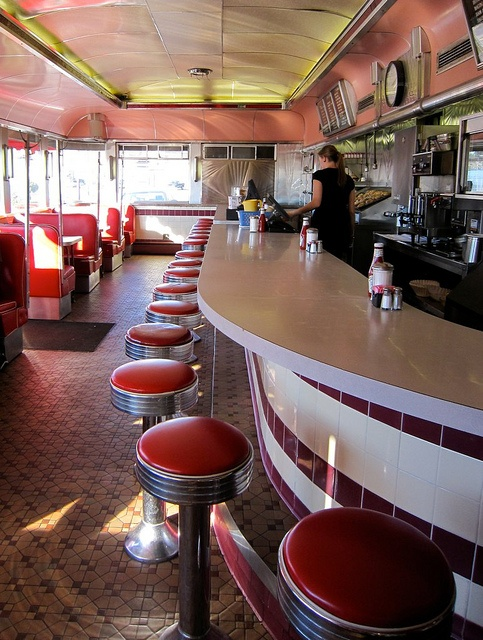 Glider Diner Interior, Roast Beef and French Fries and Gravy, Scranton PA.