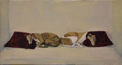 Rodgerson,Jenny Two sleeping whippets Oil on Board - Oil on panel Image Size: 33.5 x 63cm