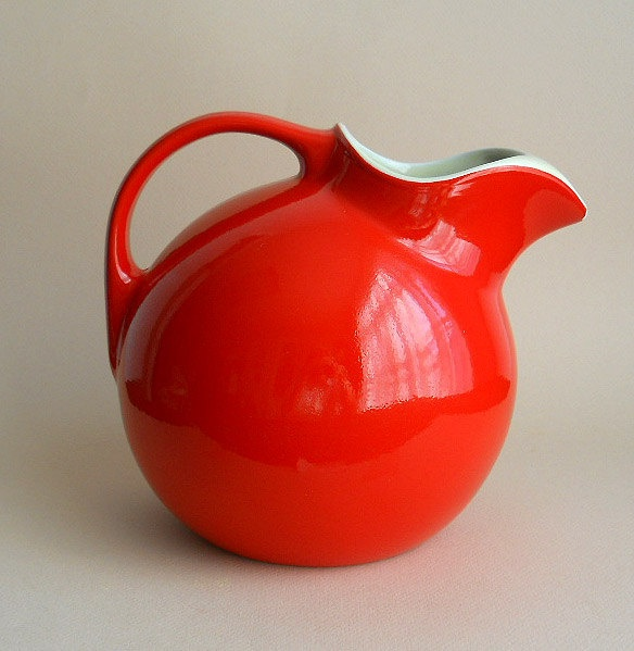 Vintage Chinese Red Hall Pottery Tilted Ball Pitcher.