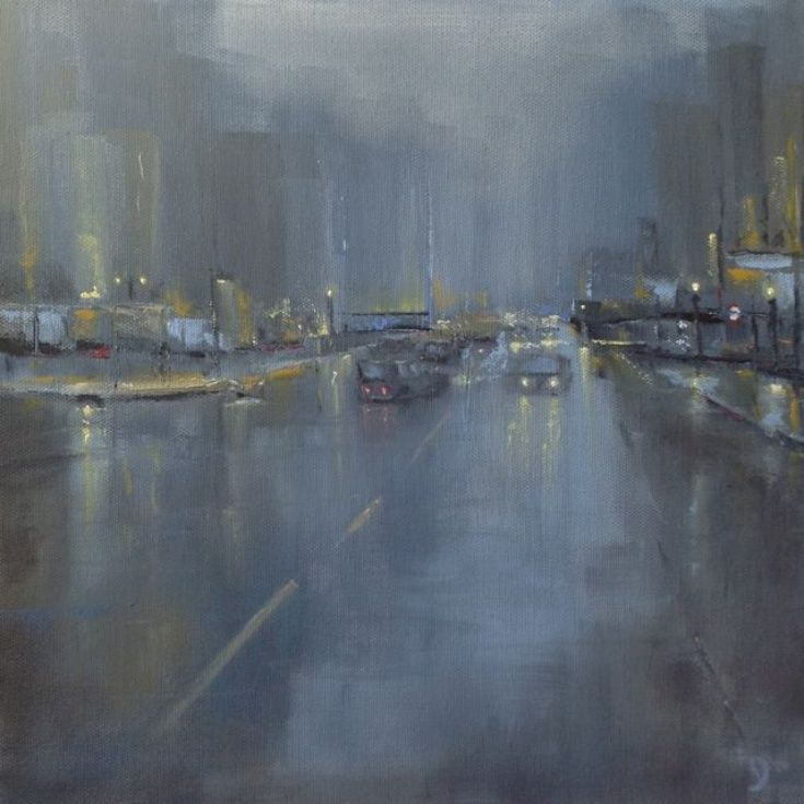 ARTFINDER: City Study #1 by Dan Wellington - No.1 of 5 in the 'City Study' collection. A study of a London street, atmospheric and gritty. Car and street lighting reflecting off the wet roads. Painted...