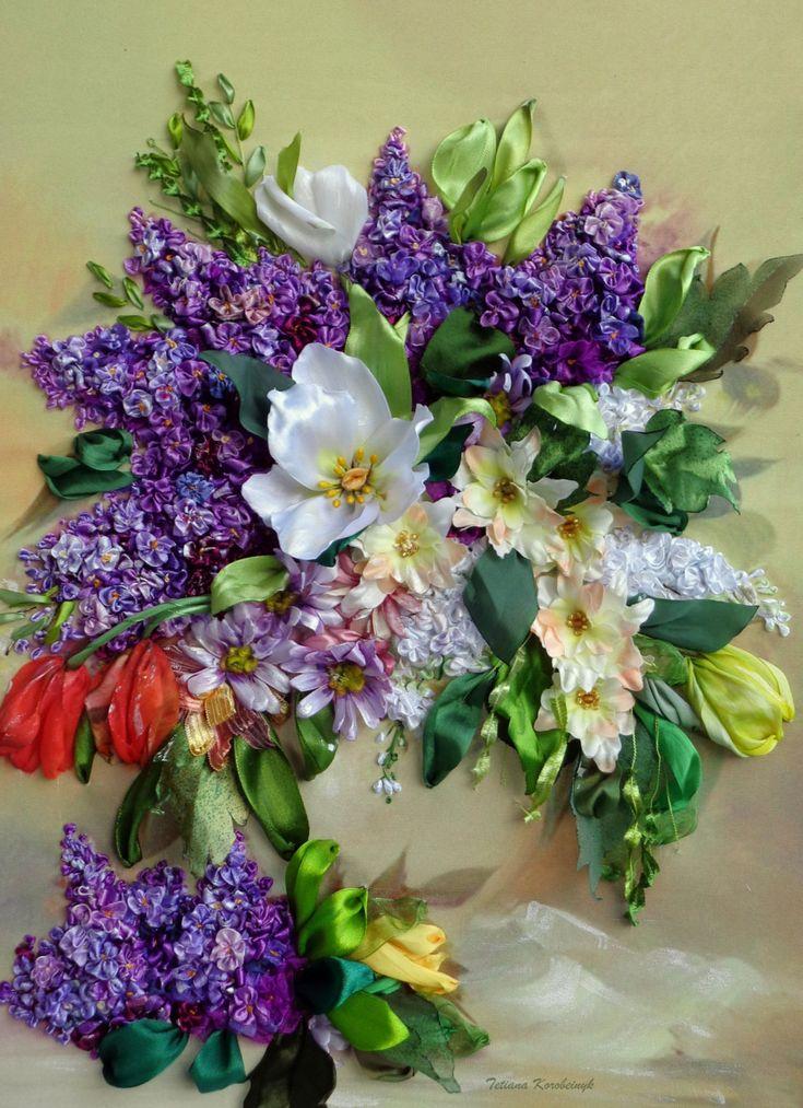 """Quadro ricamato, """"Gioia di primavera"""" , ricamo con nastro, fiori di nastro"""
