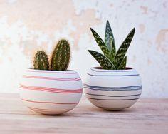 ceramic cactus planter (orange stripes). porcelain planter for, cactus, succulent or air plant. Crafted by Wapa Studio.