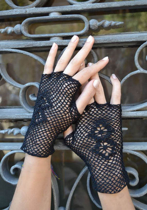 Fingerless Crochet Gloves with Flowers Black  Lace by lyralyra, $27.00