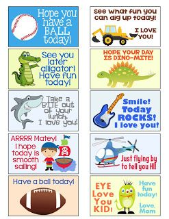 MySunWillShine.com Free lunch box notes (for boy and girl on site)