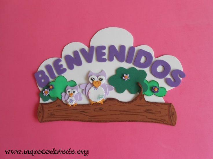 www.unpocodetodo.org - Cartel de bienvenidos de buhos violeta - Carteles - Goma eva - animales - animals - bienvenidos - buho - crafts - manualidades - owl - welcome - 1