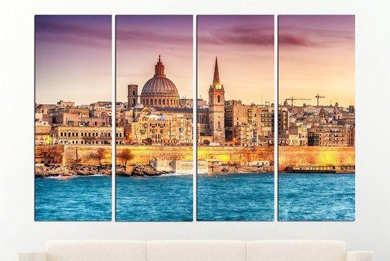Valletta Wall Art Malta Cityscape Valletta Home Decor Valletta Etsy Cityscape Wall Canvas Canvas Wall Art