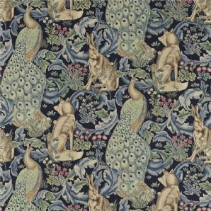 William Morris Forest Fabric in Indigo £59.86 85% Viscose 15% Linen. Curtains, soft furnishings and upholstery