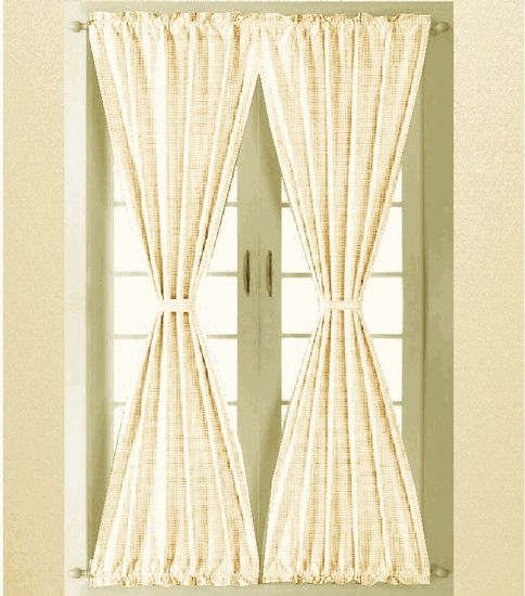 Tan Beige And White Gingham Check French Door Curtain