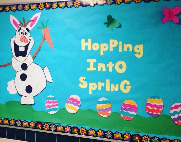 Spring Bulletin board. Olaf hopping into Spring!