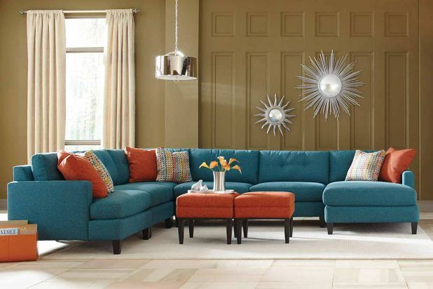 Cool collections living room furniture for custom sectional sofa with blue cheerful colored tweed wool covering l shaped comfortable sectional sofa and soft brown shag rug area also soft brown laminated flooring feat shiny shade living room pendant lamp
