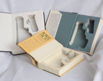 Book Safe for Glock 19 26 27 30 36 42 43 Handguns - Made to order - Hidden Book Gun Safe w/ Magazine cutout for Pistol Holster