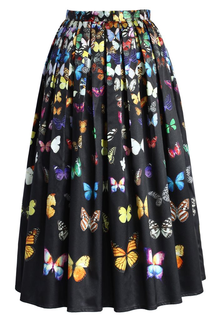 Dreamy Butterfly Pleated Midi Skirt in Black - Skirt - Bottoms - Retro, Indie and Unique Fashion