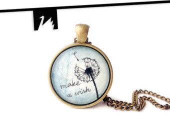 Handmade pendant necklace with an original tiny drawing under glass.   This is an ink and watercolor on paper hand painted dandelion on light blue background. The original painting closed under glass and set in brass. Delicate and simple. Make a wish... TotemSwan artistic jewelry.