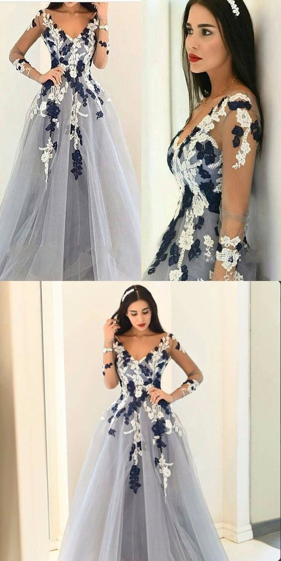 87778b77203 LONG SLEEVES APPLIQUED BALL GOWN V-NECK UNIQUE FORMAL PROM DRESS G052  prom   promdress  promdresses  longpromdress  promgowns  promgown  2018style ...