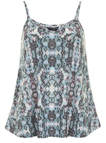 Tall Multi colour lace print cami - Tops & T-Shirts  - Clothing