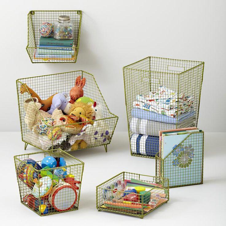 Kids Storage: Wire Wall Storage Bins In Shelf Wall Storage