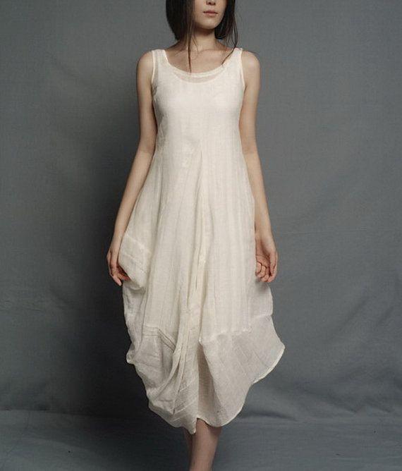 Irregular Rose Bud Hem Sleeveless Linen Dress by zeniche on Etsy, $89.00