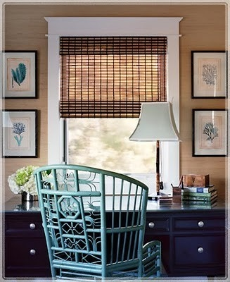 Beautiful Beach Office: Bamboo Romans Shades, Turquoise Chair, Idea, Bamboo Chairs, Offices Design, Window, Colors, Interiors, Desks